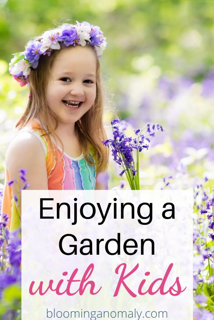 enjoying a garden with kids